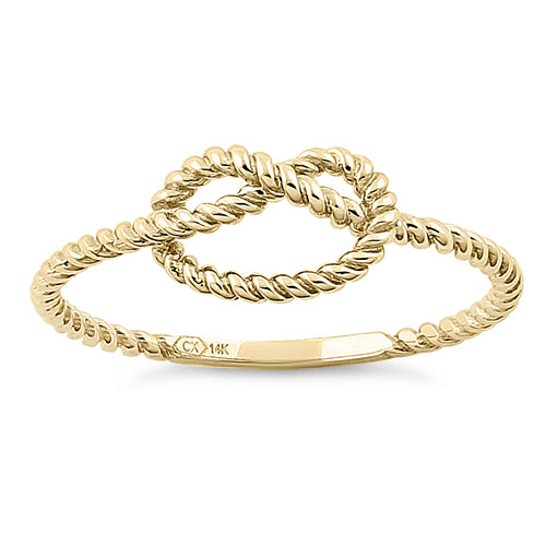 Solid 14K Yellow Gold Rope Knot Ring