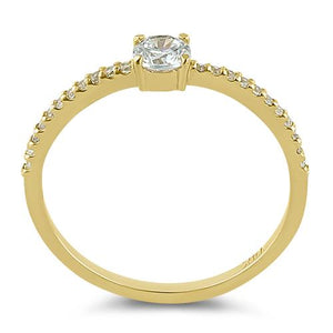Solid 14K Yellow Gold Round 4mm Clear CZ Ring
