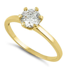 Load image into Gallery viewer, Solid 14K Yellow Gold Round 6mm Clear CZ Ring