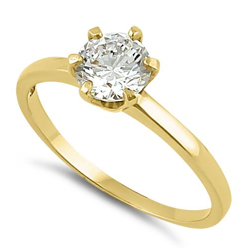 Solid 14K Yellow Gold Round 6mm Clear CZ Ring