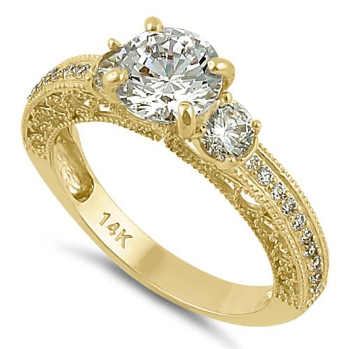 Solid 14K Yellow Gold Round 7mm Clear CZ Engagement Ring