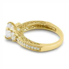 Load image into Gallery viewer, Solid 14K Yellow Gold Round 7mm Clear CZ Engagement Ring