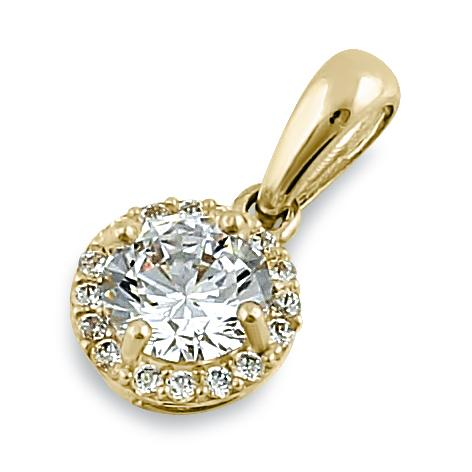 Solid 14K Yellow Gold Round Halo Clear CZ Pendant