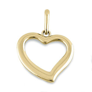 Solid 14K Yellow Gold Simple Heart Pendant