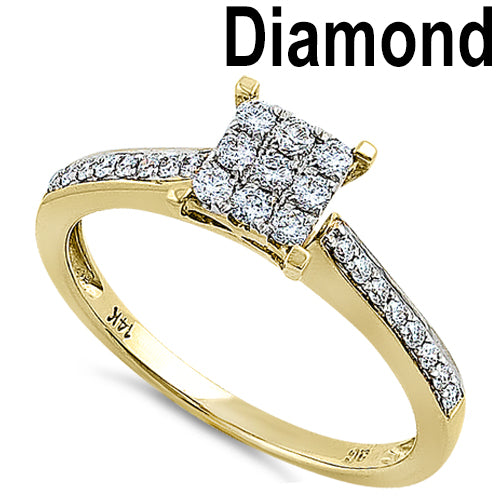 Solid 14K Yellow Gold Square 0.25 ct. Diamond Ring