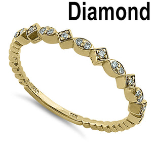 Solid 14K Yellow Gold Stackable 0.15 ct. Diamond Beaded Band