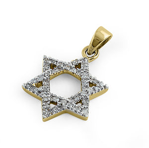Solid 14K Yellow Gold Star of David 0.15 ct. Diamond Pendant
