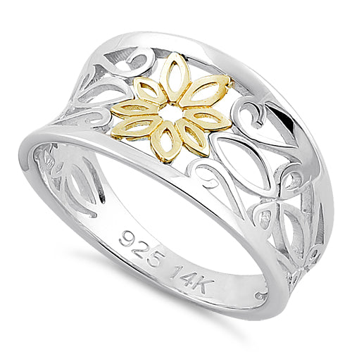 Solid 14K Yellow Gold & Sterling Silver Filigree Flower Ring