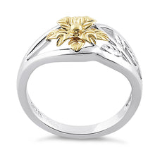Load image into Gallery viewer, Solid 14K Yellow Gold & Sterling Silver Flower Ring