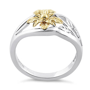 Solid 14K Yellow Gold & Sterling Silver Flower Ring