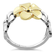 Load image into Gallery viewer, Solid 14K Yellow Gold & Sterling Silver Triple Plumeria Ring