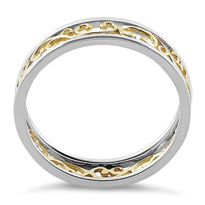 Solid 14K Yellow Gold & Sterling Silver Unique Band Ring