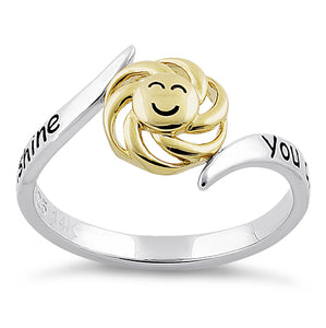 "Solid 14K Yellow Gold & Sterling Silver ""You Are My Sunshine, My Only Sunshine"" Ring"