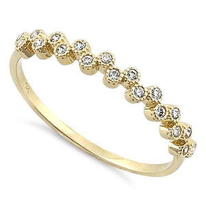 Solid 14K Yellow Gold Thin Classic Round Clear CZ Ring
