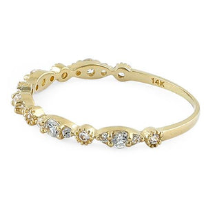 Solid 14K Yellow Gold Thin Elegant Round Clear CZ Ring