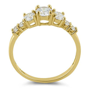 Solid 14K Yellow Gold Triple Round Clear CZ Engagement Ring