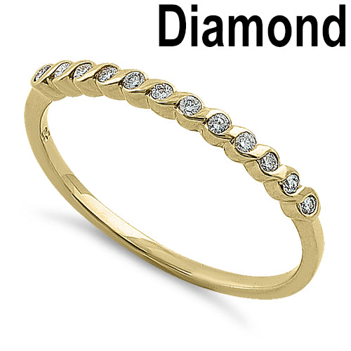 Solid 14K Yellow Gold Twist 0.15 ct. Diamond Band