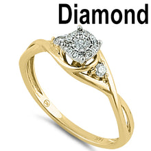Load image into Gallery viewer, Solid 14K Yellow Gold Twisted Engagement  0.10 ct. Diamond Ring