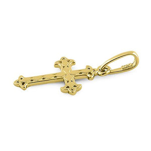 Solid 14K Yellow Gold Vintage Cross Pendant