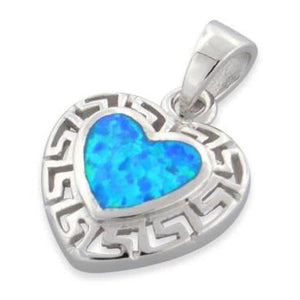 Sterling Silver Heart Greek Pattern Lab Opal Pendant