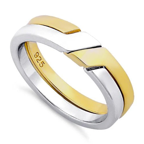 Sterling Silver Puzzle Gold Plated Two-Tone Ring