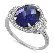 Load image into Gallery viewer, Sterling Silver Dark Blue Spinel Oval Halo CZ  Ring