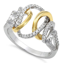 Load image into Gallery viewer, Sterling Silver Exotic Two-tone Gold Plated CZ Ring