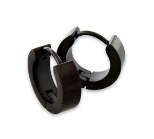 Stainless Steel 4mm Black Huggie Earrings