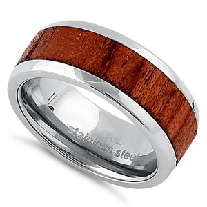 Stainless Steel 8mm Wooden Band Ring