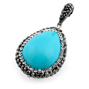 Stainless Steel Blue Oval Stone CZ Pendant