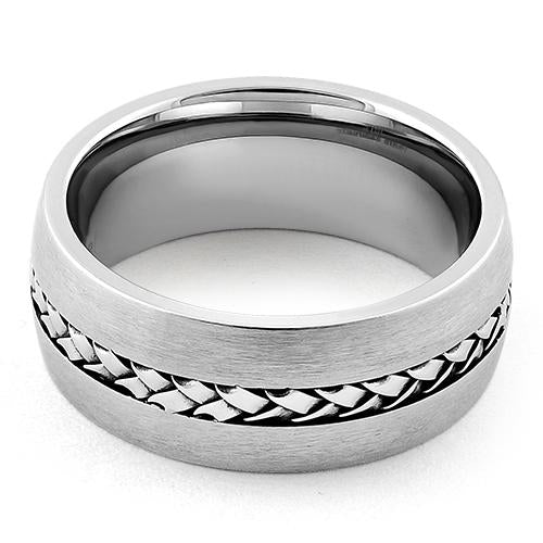 Stainless Steel Center Braided Satin Finish Band Ring