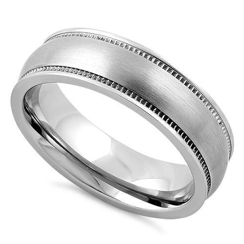 Stainless Steel Coin Edged Satin Finish Band Ring