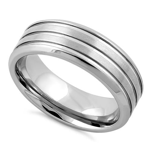 Stainless Steel Four Layers Triple Groove Satin Finish Band Ring