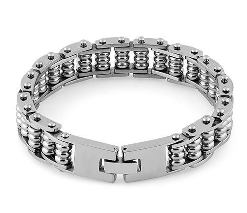 Stainless Steel Groove Cylinder Bracelet