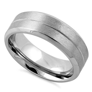 Stainless Steel Polished Beveled Groove Satin Finish Band Ring