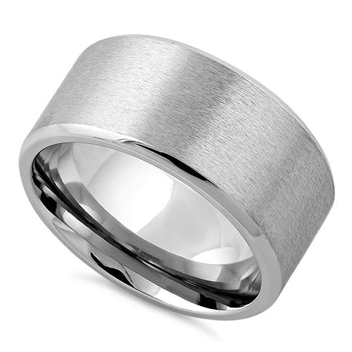 Stainless Steel Polished Beveled Satin Finish Band Ring