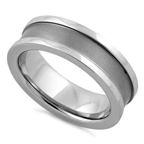 Stainless Steel Polished Satin Finish Band Ring