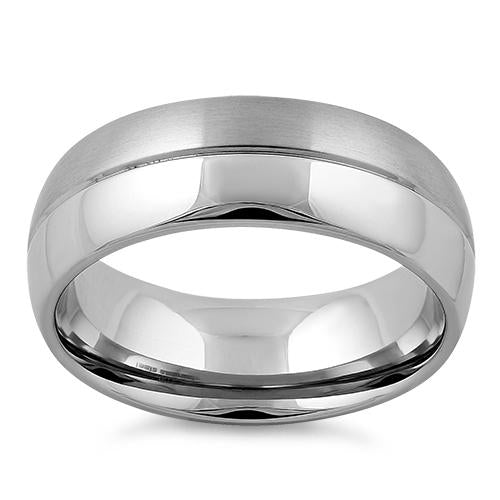 Stainless Steel Polished Satin Finish Groove Band Ring