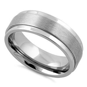 Stainless Steel Stair Step Satin Finish Polished Band Ring