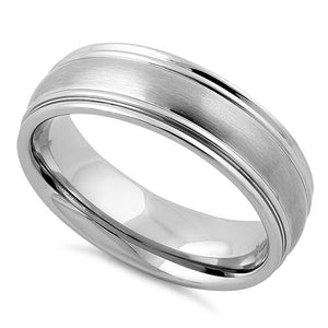 Stainless Steel Thin Grooves Satin Finish Band Ring