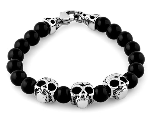 Stainless Steel Triple Skull Black Agate Bracelet