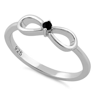 Sterling Silver Infinity Ribbon Black CZ Ring