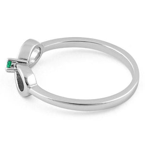 Sterling Silver Infinity Ribbon Emerald CZ Ring