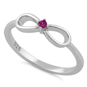 Sterling Silver Infinity Ribbon Pink CZ Ring