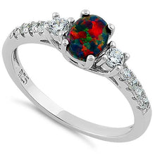 Load image into Gallery viewer, Sterling Silver Encahnted Oval Black Lab Opal CZ Ring