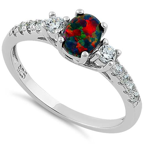 Sterling Silver Encahnted Oval Black Lab Opal CZ Ring
