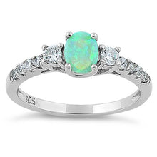 Load image into Gallery viewer, Sterling Silver Enchanted Oval Green Lab Opal CZ Ring
