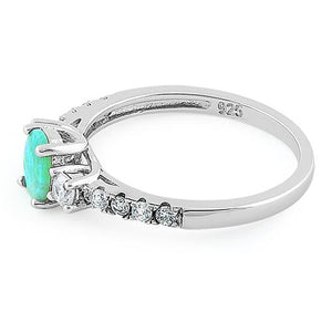 Sterling Silver Enchanted Oval Green Lab Opal CZ Ring