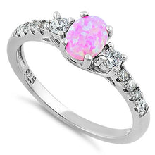 Load image into Gallery viewer, Sterling Silver Enchanted Oval Pink Lab Opal CZ Ring