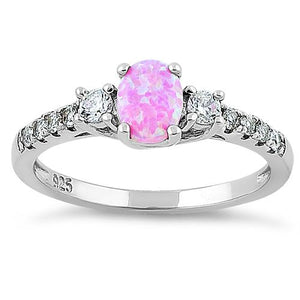 Sterling Silver Enchanted Oval Pink Lab Opal CZ Ring